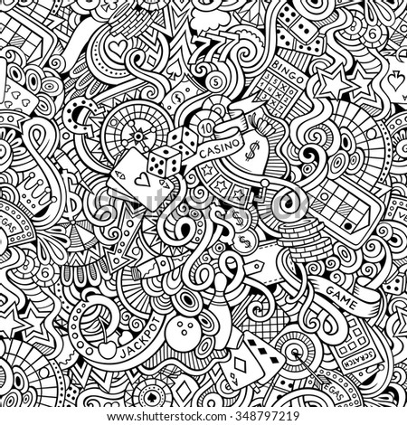 Cartoon hand-drawn doodles on the subject of casino style theme seamless pattern. Vector line art background - stock vector