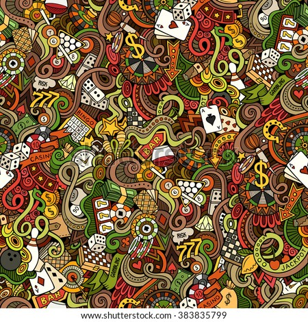 Cartoon hand-drawn doodles on the subject of casino theme seamless pattern. Colorful detailed, with lots of objects vector background - stock vector