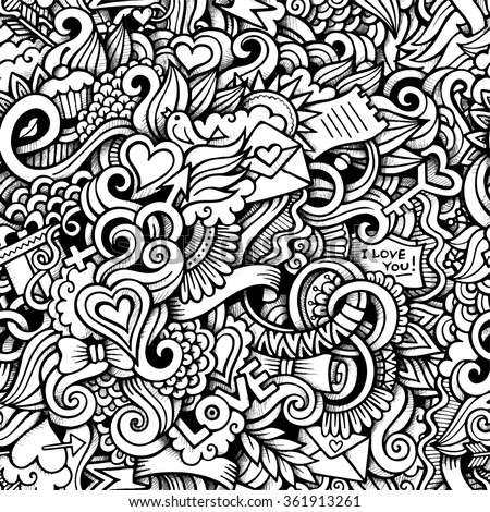 Cartoon hand-drawn doodles on the subject of Love style theme seamless pattern. Vector trace background - stock vector