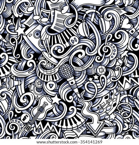 Cartoon hand-drawn doodles on the subject of Music style theme seamless pattern. Vector trace background - stock vector