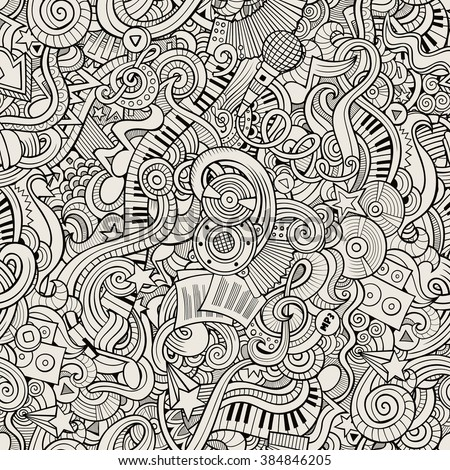 Cartoon hand-drawn doodles on the subject of musical theme seamless pattern. Line art sketchy detailed, with lots of objects vector background - stock vector