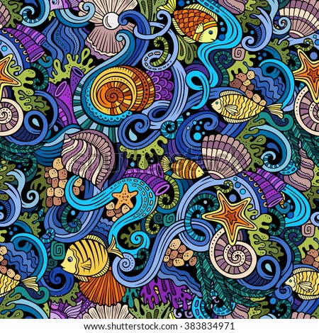 Cartoon hand-drawn doodles on the subject of under water life theme seamless pattern. Colorful detailed, with lots of objects vector background - stock vector