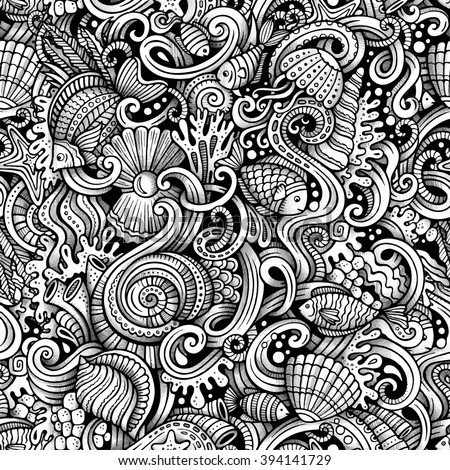 Cartoon hand-drawn doodles on the subject of under water life theme seamless pattern. Trace line art detailed, with lots of objects vector background - stock vector