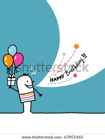 Cartoon hand drawn greeting card - Birthday - stock vector