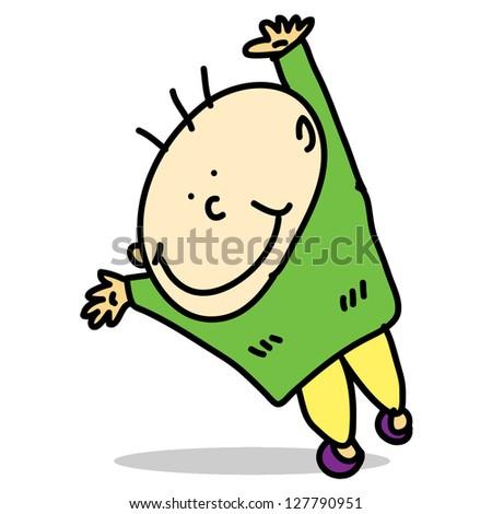 cartoon hand-drawn happy kid vector for design - stock vector