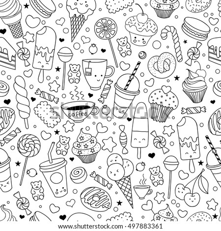 Cartoon Hand Drawn Seamless Vector Pattern With Doodle Icons Items Background Sweets Elements