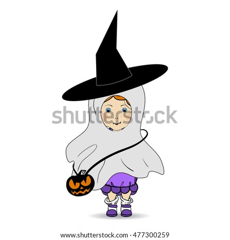 Cartoon Hand Drawn Vector Illustration of a Happy Halloween. Children. Trick or Treat. Halloween Costumes.