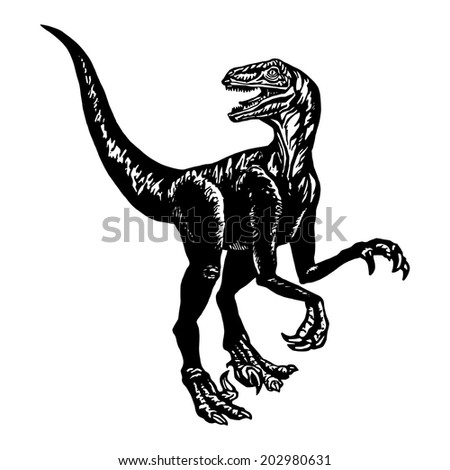 cartoon, hand drawn, vector, sketch, illustration of Velociraptor - stock vector