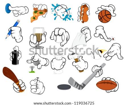 Cartoon hand Gestures - Vector Illustration - stock vector