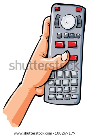 Cartoon hand holding remote control. Isolated on white - stock vector