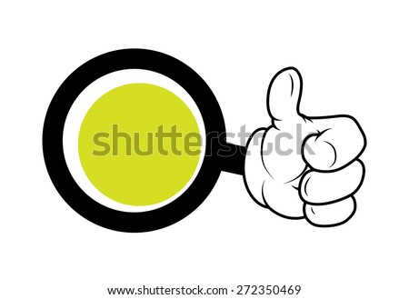 Cartoon Hand Showing Thumbs Up Circle Banner - stock vector