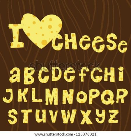 Cartoon hand writing cheese alphabet - stock vector