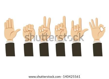 Cartoon Hands collection - stock vector