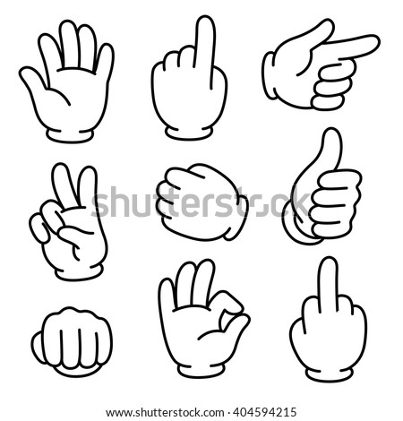 Cartoon hands gesture set, traditional cartoon white glove. Vector clip art illustration.
