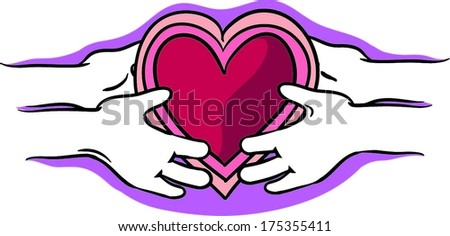 Cartoon Hands Holding a Heart Cartoon Hands Holding And