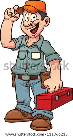 Cartoon handy man. Vector illustration with simple gradients. All in a single layer. - stock vector