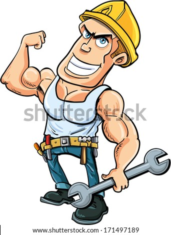 Cartoon handyman flexing his muscles, he holds a wrench.Isolated - stock vector