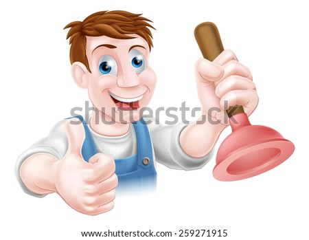 Cartoon handyman or plumber holding a sink or toilet plunger and doing a thumbs up  - stock vector