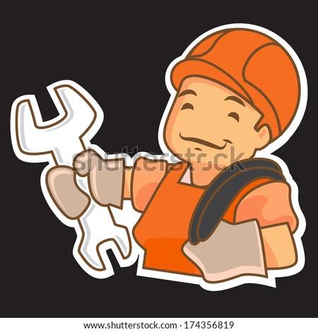 Cartoon handyman. Vector illustration.  - stock vector