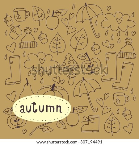 cartoon happy autumn elements vector design