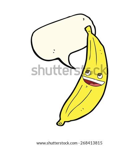 cartoon happy banana with speech bubble - stock vector
