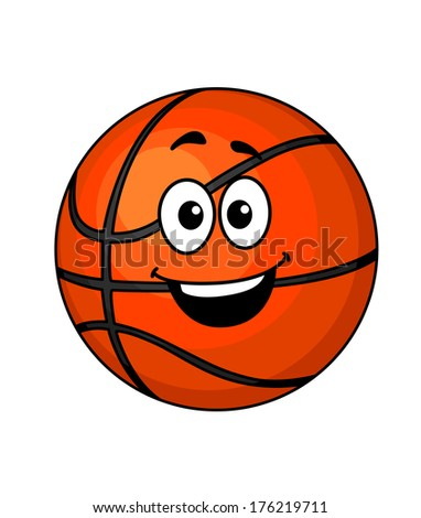 Cartoon happy basketball ball logo with a big smile and googly eyes isolated on white, vector illustration - stock vector