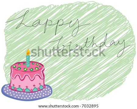 cartoon happy birthday cake greeting (vector) - stock vector