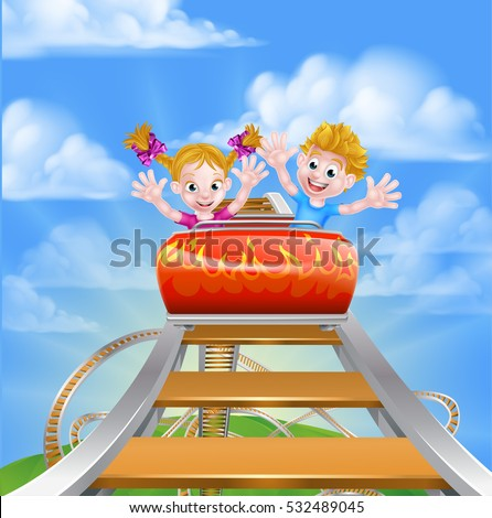 Cartoon happy boy and girl children riding on a roller coaster ride at a theme park or amusement park