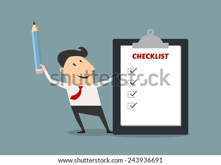 Cartoon happy businessman holding checklist board and pencil for business concept design - stock vector