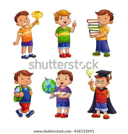 Cartoon happy children set, standing school boys vector illustration, elementary school pupils isolated on white - stock vector
