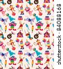 cartoon happy circus seamless pattern - stock vector
