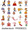cartoon happy circus show icons collection - stock photo
