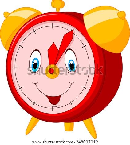 Cartoon happy clock - stock vector