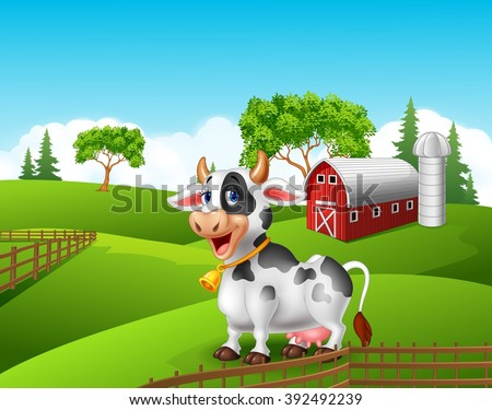 Cartoon happy cow smile in the farm