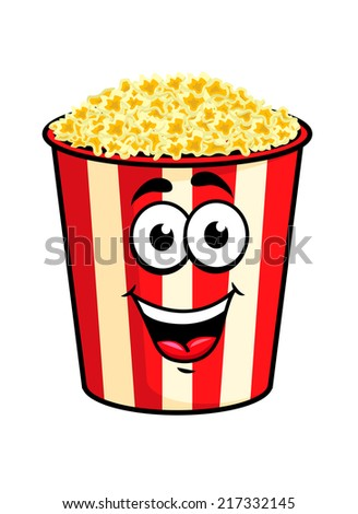 Cartoon happy cute popcorn character for fastfood design - stock vector