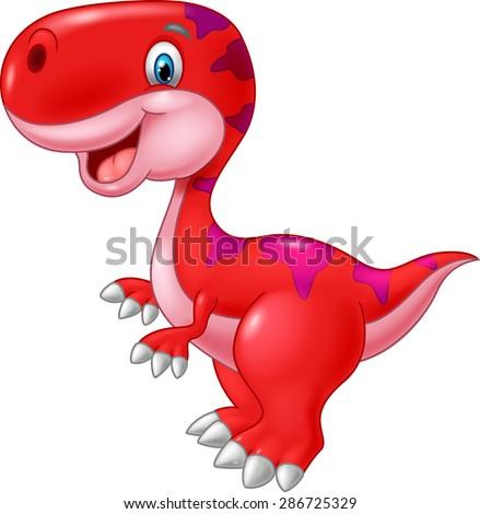 Cartoon happy dinosaur - stock vector
