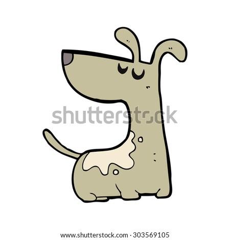 cartoon happy dog - stock vector