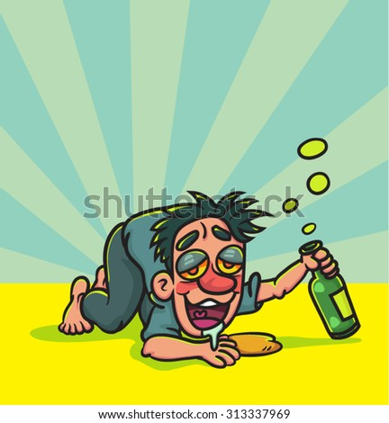 Cartoon Happy Drunk Man Lying Down, illustration