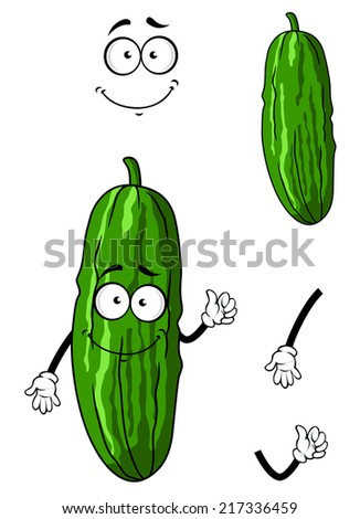 Cartoon happy green cucumber or gherkin vegetable with smiling face isolated on white - stock vector