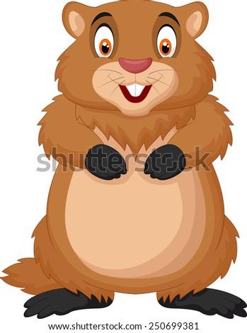 Cartoon happy groundhog - stock vector