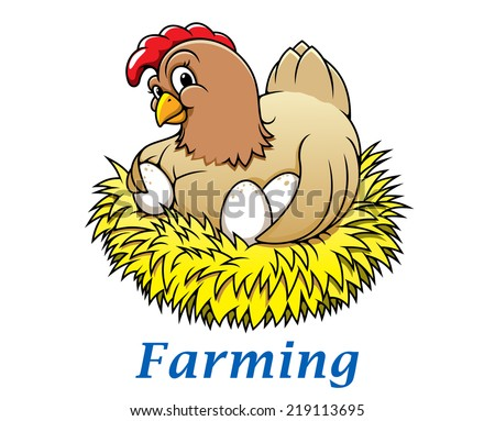 Cartoon happy hen character with eggs in the nest for farming and Easter holiday design - stock vector