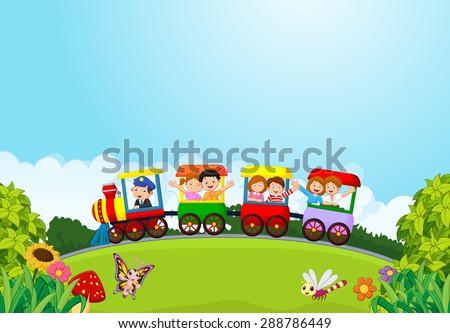 Cartoon happy kids on a colorful train - stock vector