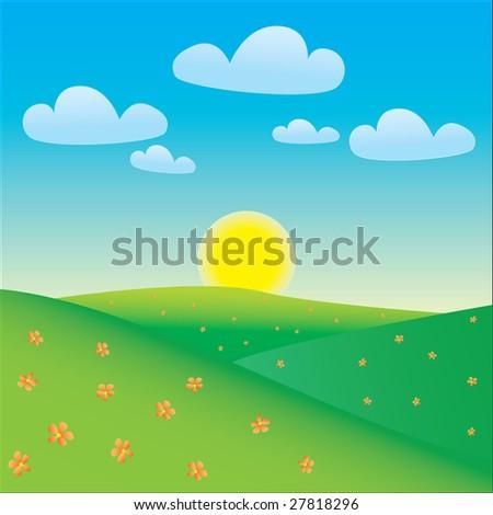 Cartoon happy landscape - stock vector