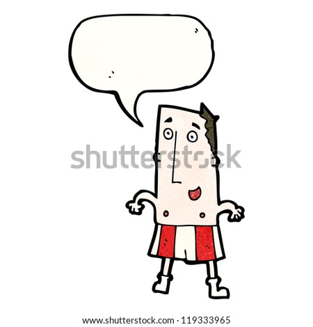 cartoon happy man in boxer shorts
