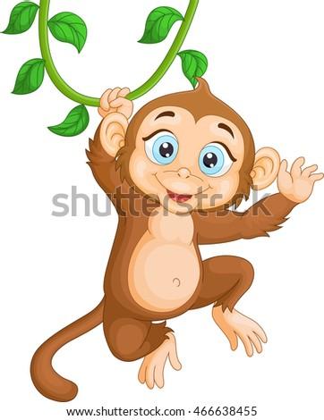 Cartoon monkeys hanging from a tree - photo#24