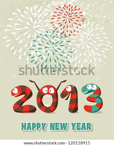 Cartoon Happy New 2013 year greeting card background. Vector illustration layered for easy manipulation and custom coloring. - stock vector