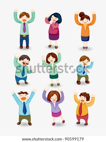 cartoon happy office workers icon - stock vector