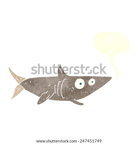 cartoon happy shark with speech bubble - stock vector