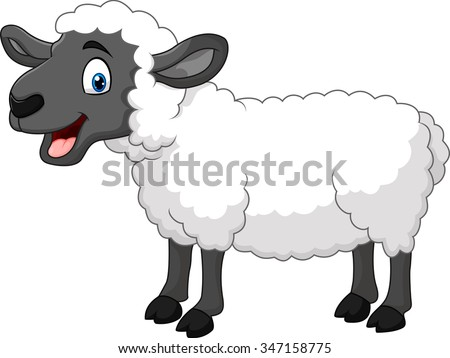 Cartoon happy sheep posing isolated on white background - stock vector