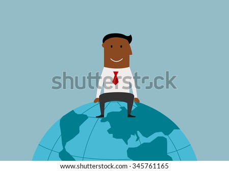 Cartoon happy smiling successful african american businessman sitting on the earth globe, for international business or global market concept design - stock vector